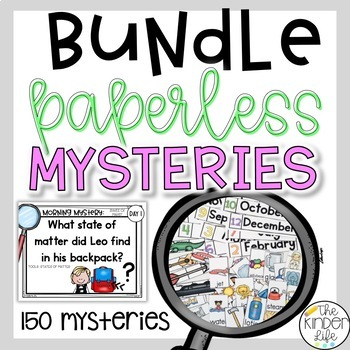 PAPERLESS Kindergarten 1st Grade Logic Problem Solving Mysteries GROWING Bundle
