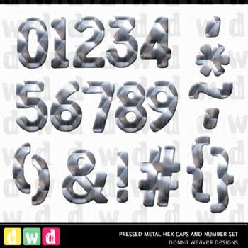 *PRESSED METAL HEX* Printable Metal Letters Number Clip Art