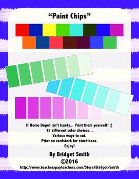 Paint Chips By Bridget Smith Teachers Pay Teachers