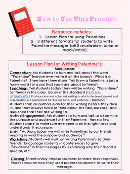 """Pal""entine Writing Activity"