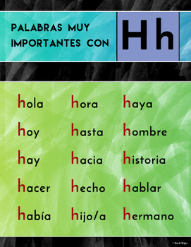 """Palabras Con H"" Poster (Spanish)"