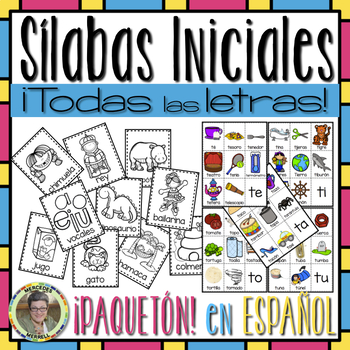 BUNDLE! POSTERS y TARJETAS sílabas iniciales ...TODAS las LETRAS en ESPAÑOL