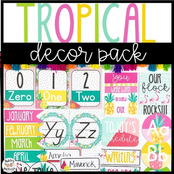 Tropical Flamingo Themed Decor Pack! -Editable