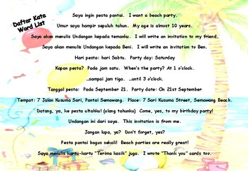 'Party Invitation' Indonesian ONLY Picture Book