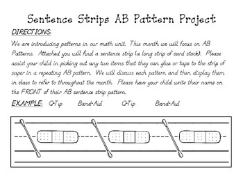 """""""Pattern Sentence Strips"""" - AB Pattern Activity for Home or School"""