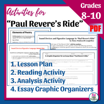 """""""Paul Revere's Ride"""" Poetry Analysis Activity and Essay Graphic Organizers"""