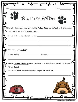 """Paws"" and Reflect Student Zones Activity"