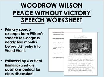"""Peace Without Victory"" - Woodrow Wilson - World War I - U"