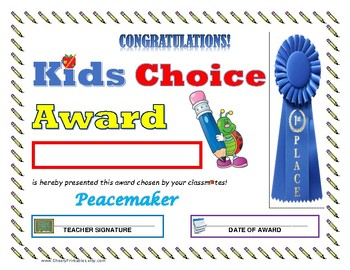 """Peacemaker"" KIDS CHOICE AWARD- For Primary and Middle School Grades!"
