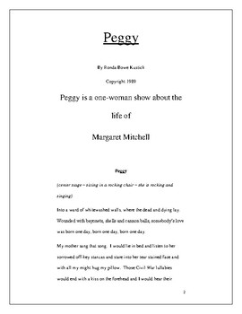 """""""Peggy"""" one-woman play about Margaret Mitchell, author of """"Gone With The Wind""""."""