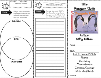 """Penguin Chick"" Skills Trifold aligned to Journeys Lesson 21"