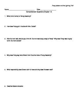"""Percy Jackson and the Lightning Thief"" Literature Study"