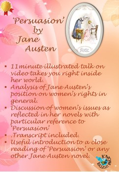 Jane Austen as a feminist writer - a discussion with examples from 'Persuasion'.