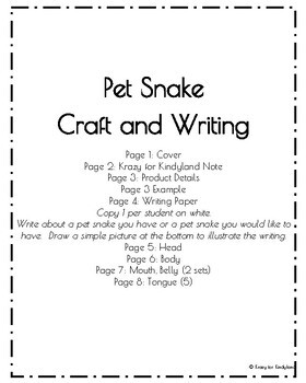 Pet Snake Craft and Writing (Animal Research)