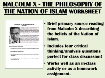 """""""Philosophy of the Nation of Islam"""" -Malcolm X-Black Power-Civil Rights Movement"""