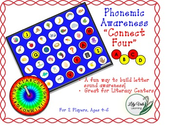 "**Phonemic Awareness ""Connect Four""- Great for Literacy Ce"