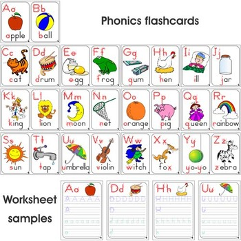 Phonics Set 26 Colored Flashcards 26 Colored
