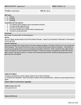 [Phys Ed] [Grades 3-8] Soccer Unit Theme Activities