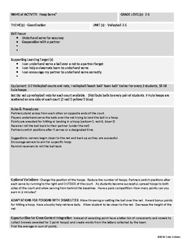 [Phys Ed] [Grades 3-8] Volleyball Unit Theme Activities