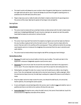 [Physical Education] Racket Sports - Unit Planner, Lessons Agenda