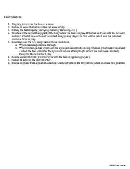 [Physical Education] VOLLEYBALL Activities - Unit Planner, Lessons Agenda