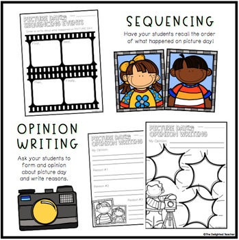Picture Day Activities Making Connections, Compare+Contrast, Sequencing, Writing