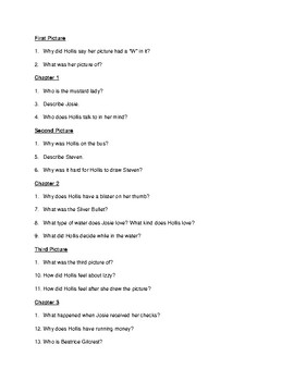"""""""Pictures of Hollis Woods"""" content questions and answer key"""