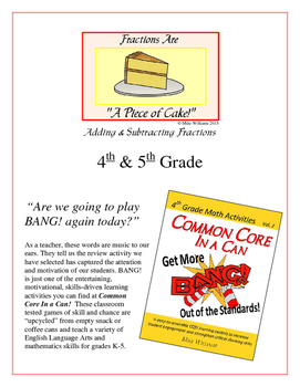 """Piece of Cake!"" Add & Subtract Fractions 4th & 5th Grade"