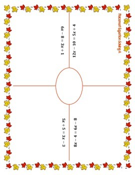"""""""Placemat"""" Math: Solving Multi-Step Equations"""