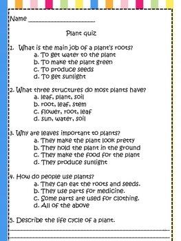 Plant Activity Bundle! {Experiments, Quizzes, and Diagrams for Plants}