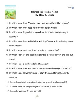 """""""Planting the Trees of Kenya"""" By Claire A. Nivola Battle of the Books Questions"""
