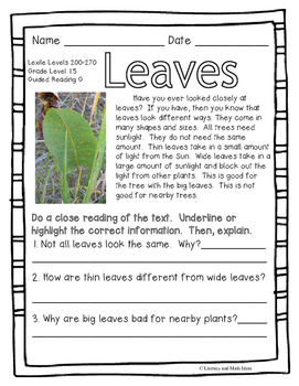 (Plants) Leveled Passages Guided Reading Levels F,G,H (Lexiles 175-299)