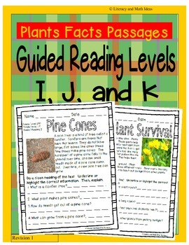 (Plants) Leveled Passages Guided Reading Levels I,J,K (Lexiles 290-440)