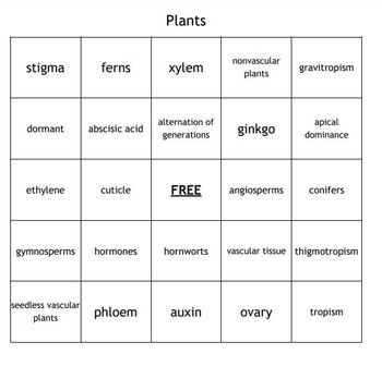 """Plants"" Vocabulary Bingo for a Middle School Science Course"