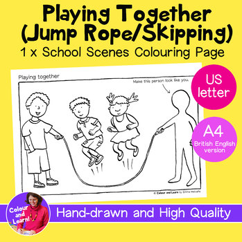 """""""Playing Together- Jump Rope"""" Coloring Page/Colouring Sheet (Elementary/Primary)"""