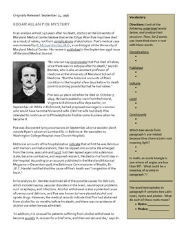 """""""Poe's Curious Death"""" Article and Questions"""