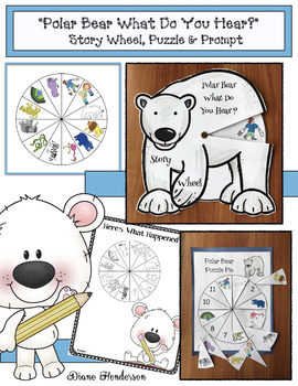 """Polar Bear What Do You Hear?"" Story Wheel Craft, Puzzle Center & Prompt"