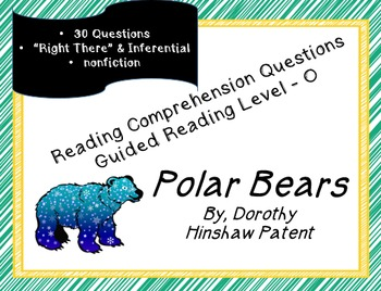 """""""Polar Bears""""; Level O nonfiction; 30 reading comp questio"""