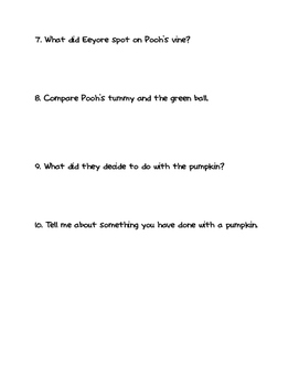 """Pooh's Pumpkin"" Comprehension Questions"