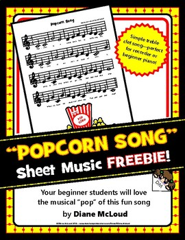 """Popcorn Song"" - Original Sheet Music FREEBIE!"