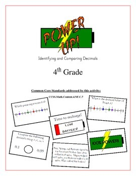 """""""Power Up!"""" Identifying & Comparing Decimals 4th Grade Common Core Game Packet"""