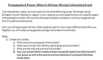 """Power and Propaganda"" Dystopian Novels Literature Circle Full Unit"