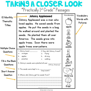 """Practically 1st Grade"" Reading Comprehension Passages and Questions for August"