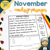 """""""Practically 1st Grade"""" Reading Comprehension Passages for November"""