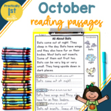 """""""Practically 1st Grade"""" Reading Comprehension Passages for October"""