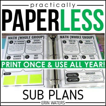 [Practically] Paperless Sub Plans for 1st Grade