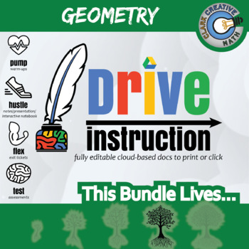 (Pre-Order) Drive Instruction - Complete Geometry - EDITABLE Warm-Ups/Notes/Test