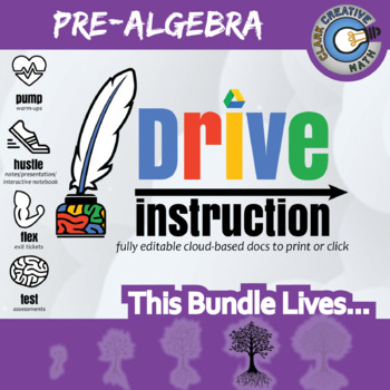 Drive Instruction - Complete Pre-Algebra - EDITABLE Warmup/Slides/Notes/Tests+++