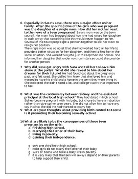 """""""Pregnancy Pact"""" Movie Reflection Questions and Answer Key"""