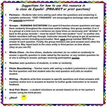 SPANISH QUESTION WORDS - ¿Cuál es la pregunta? Spanish Interoggatives
